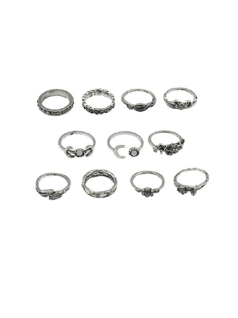 At-Silver 11Pcs/set Moon Flower Leaf Jewelry Rings - Rings