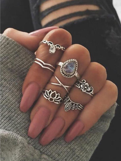 At-Silver 7Pcs/set Flower White Opal Rings - Rings