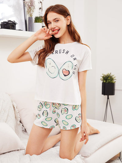 Avocado Print Top And Bow Front Shorts Pajama Set - Nightwears