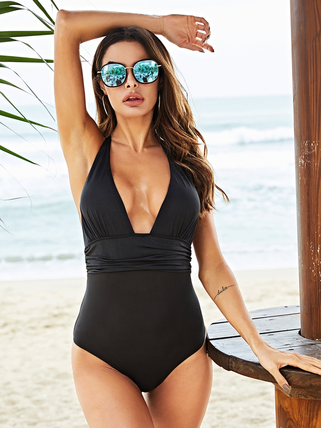 Plunging Halter Neck One-Piece Swimsuit