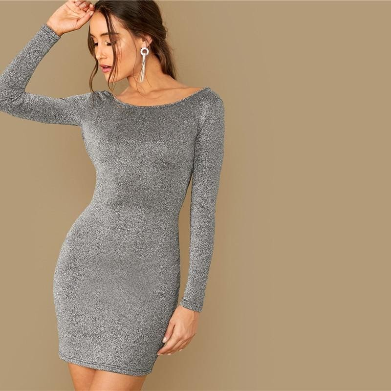 Backless Chain Crisscross Glitter Bodycon Going Out Mini Dress - Gray / XL - Dresses