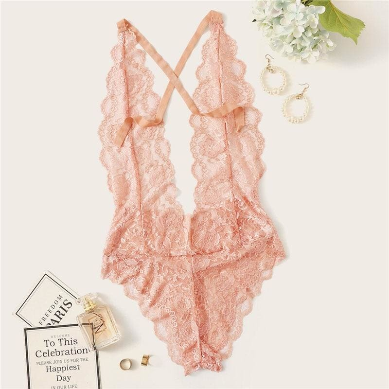 Backless Scalloped Floral Lace Teddy Bodysuit - Pink / S - Lingerie