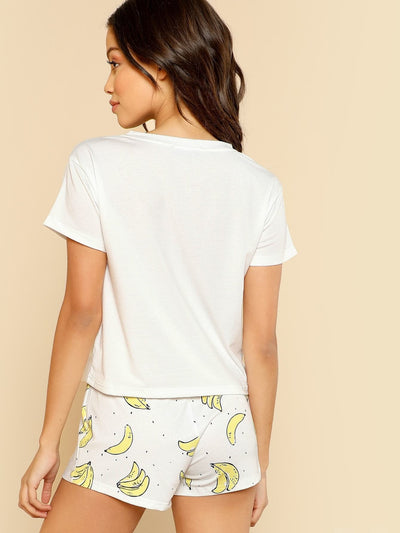 Banana Print Pocket Front Top With Shorts Pajama Set - Nightwears