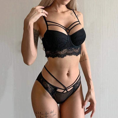 Bandage Push-Up Embroidery Lace Lingerie Set - Black / 85C - Lingerie