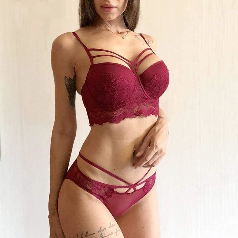 Bandage Push-Up Embroidery Lace Lingerie Set