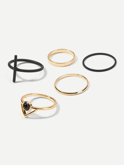 Bar Decorated Ring Set 5Pcs - Rings