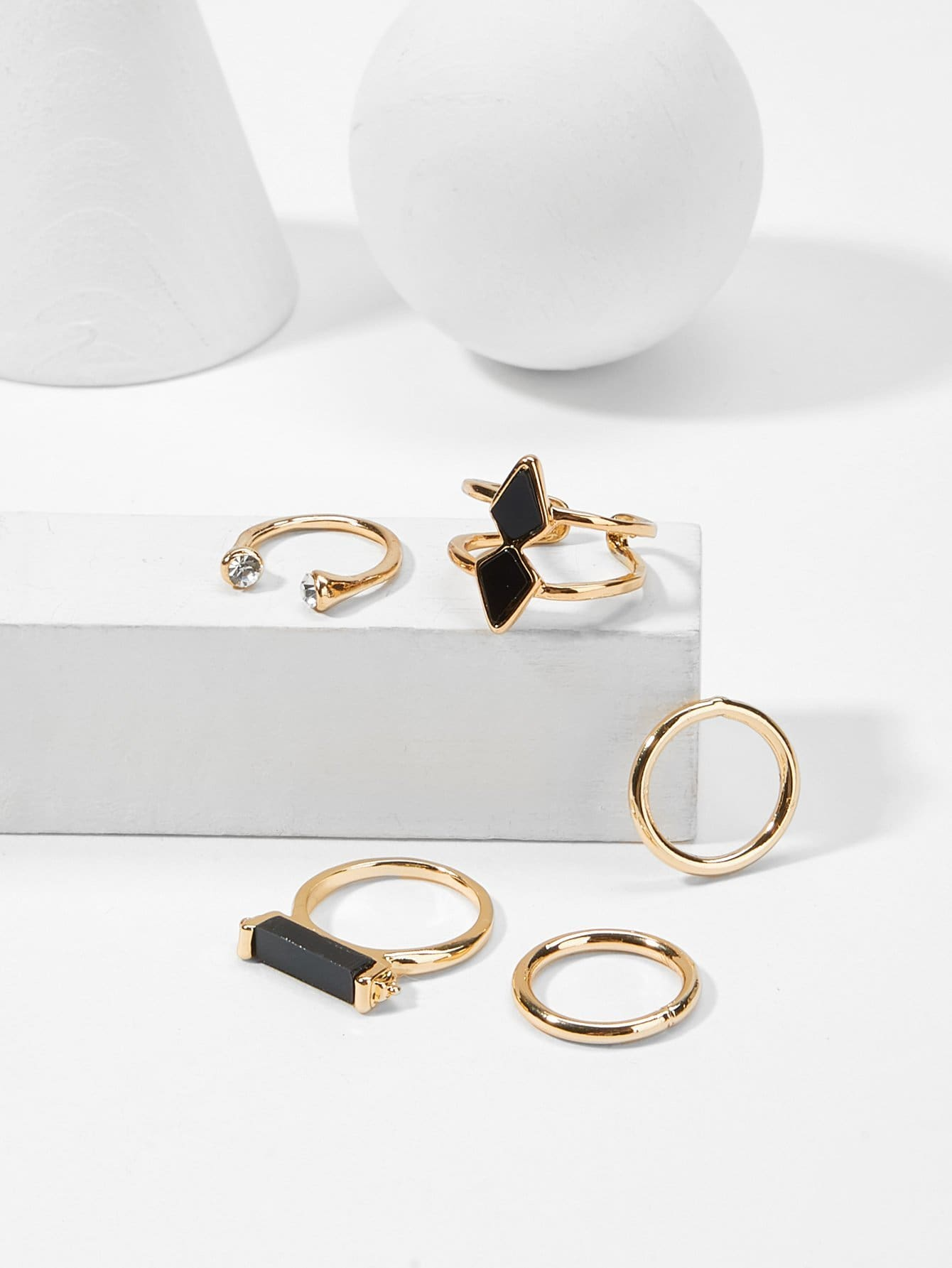 Bar Detail Ring Set 5pcs