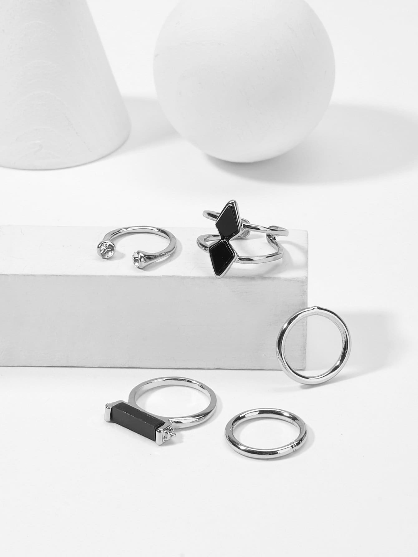 Bar Detail Ring Set 5Pcs - Rings