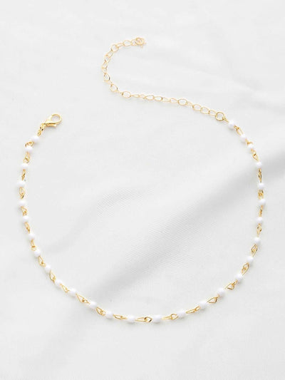 Beaded Design Delicate Chain Choker - Necklaces