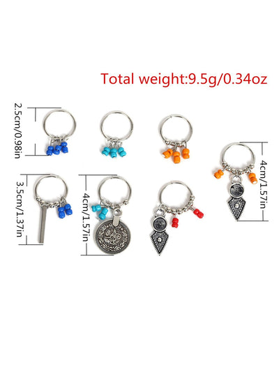 Beaded Hair Ring 7Pcs - Hair Accessories