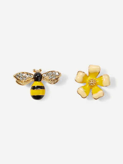 Bee & Flower Mismatched Stud Earrings - Earrings