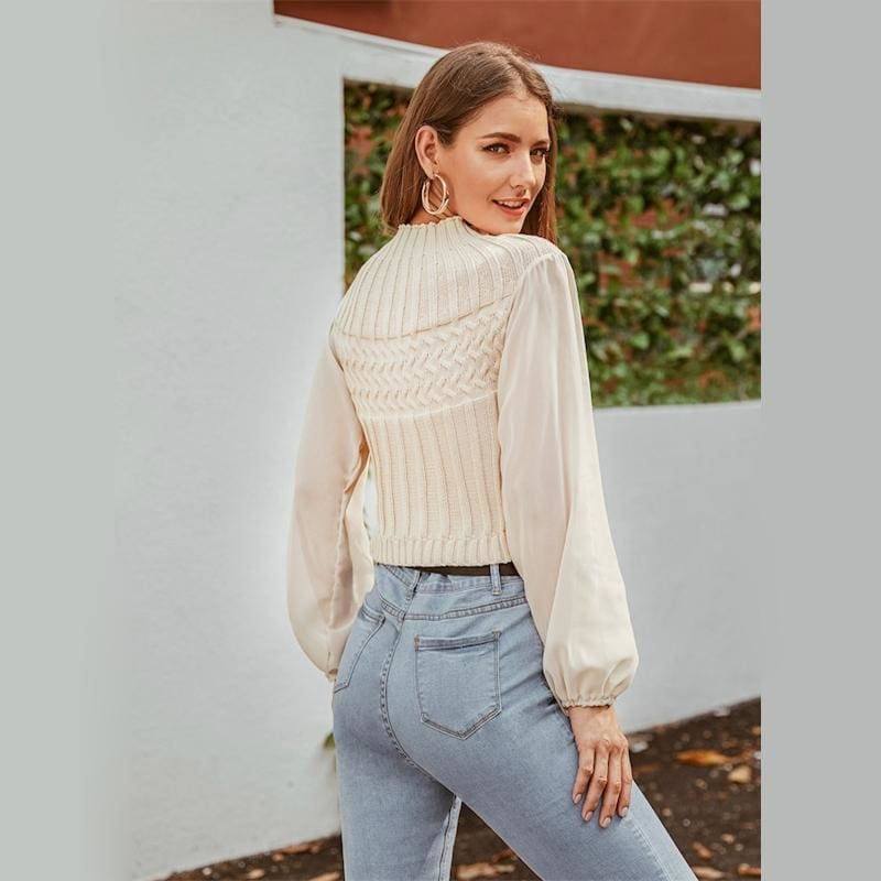 Beige Lantern Sleeve Rib-Knit Crop Sweater