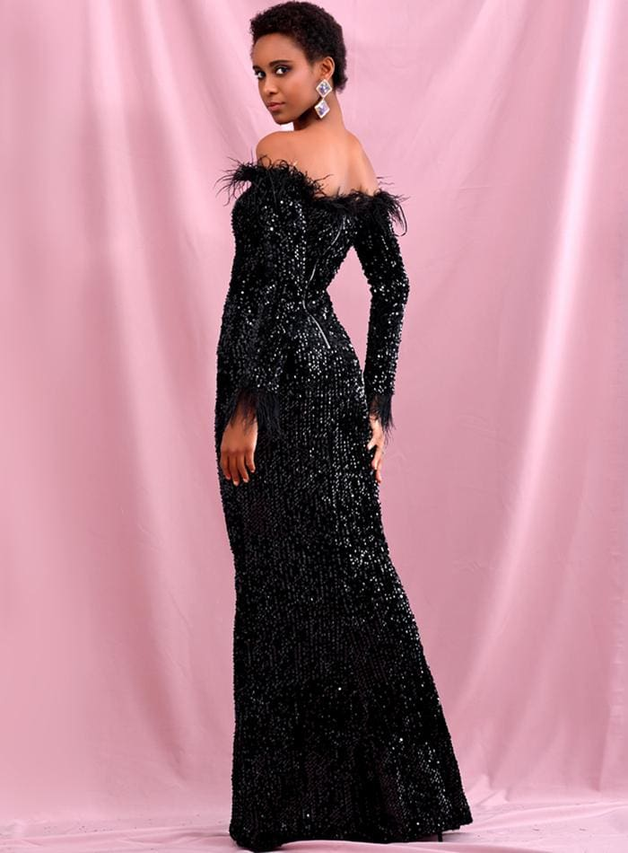 Black Collar Feather Decoration Velvet Sequin Prom Maxi Dress - BLACK / L - Dresses