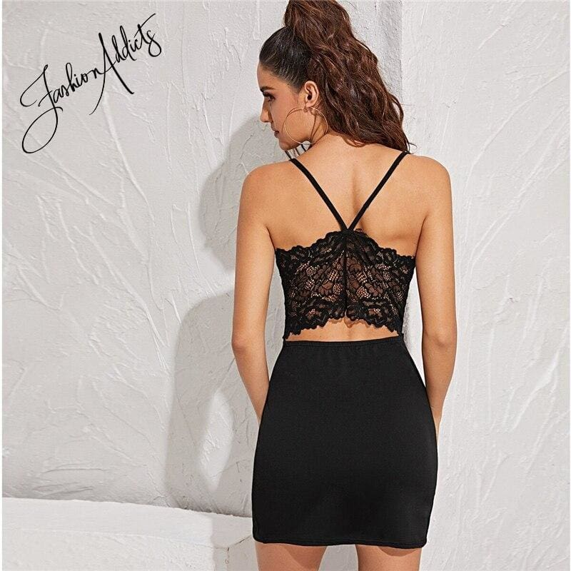 Black Contrast Lace Back Bodycon Cami Mini Dress