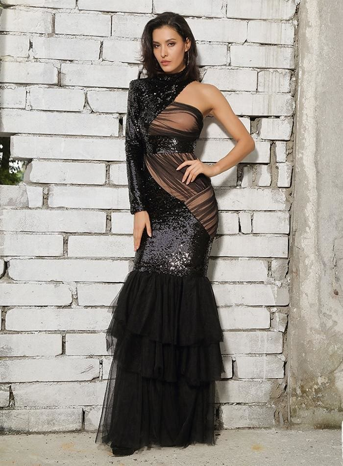 Black Cut Out Mesh Stitching Fishtail Shape Sequins Maxi Dress - BLACK / XS - Dresses
