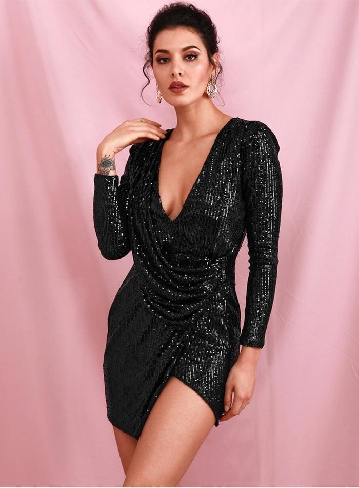 Black Deep V-neck Draped Sequin Cross Bodycon Party Mini Dress - BLACK / S - Dresses