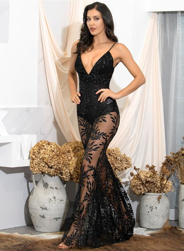 Black Deep V-Neck Perspective Open Back Leaves Sequin Prom Maxi Dress - BLACK / S - Dresses