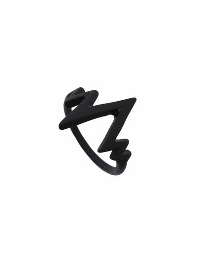 Black Electrocardiogram Shaped Ring - Rings
