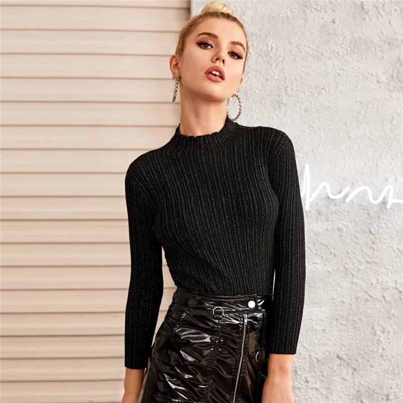 Black Glitter Mock Collar Fitted Sweater - Black / L - Hoodies & Sweatshirts
