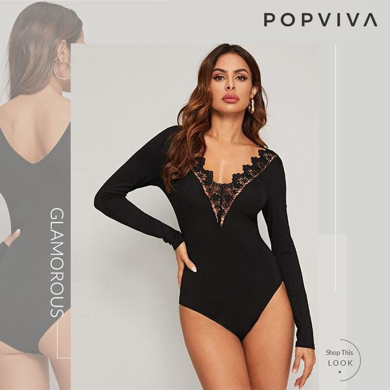 Black Guipure Lace Trim V Neck Bodysuit
