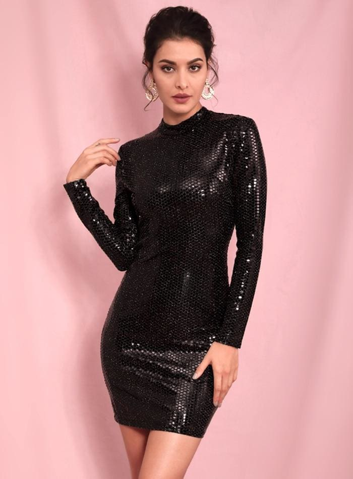 Black High Neck Open Black Sequins Bodycon Party Mini Dress - BLACK / XS - Dresses