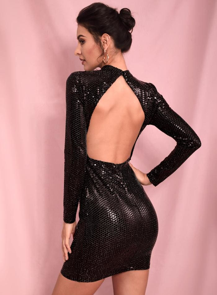 Black High Neck Open Black Sequins Bodycon Party Mini Dress