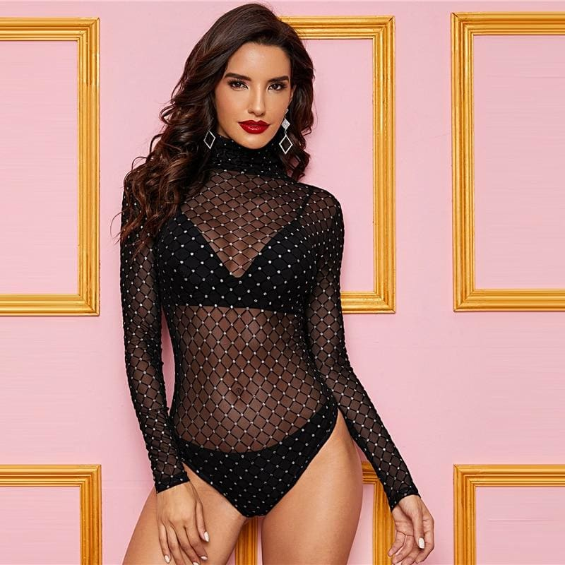 Black High Neck Sheer Mesh Overlay Bodysuit