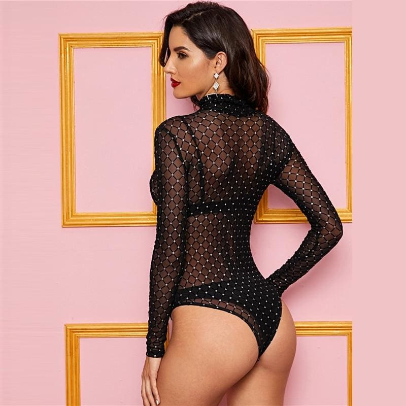 Black High Neck Sheer Mesh Overlay Bodysuit - Black / L - Bodysuits