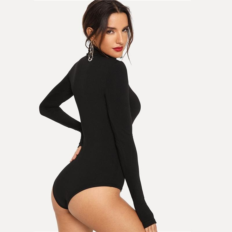 Black High Neck Solid Skinny Bodysuit