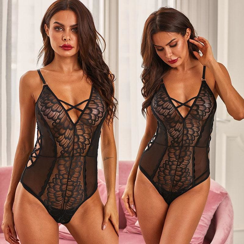 Black Lace Hollow-out Sexy Deep V Sheer Bodysuit