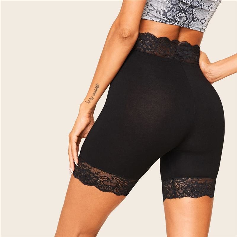 Black Lace Trim Solid Biker Shorts