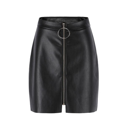 Black Leather Pencil Zipper Front High Waist Skirts - Skirts