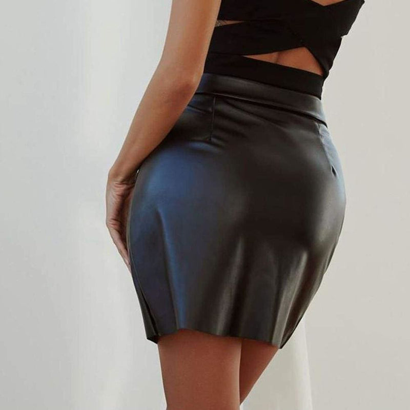 Black Leather Pencil Zipper Front High Waist Skirts