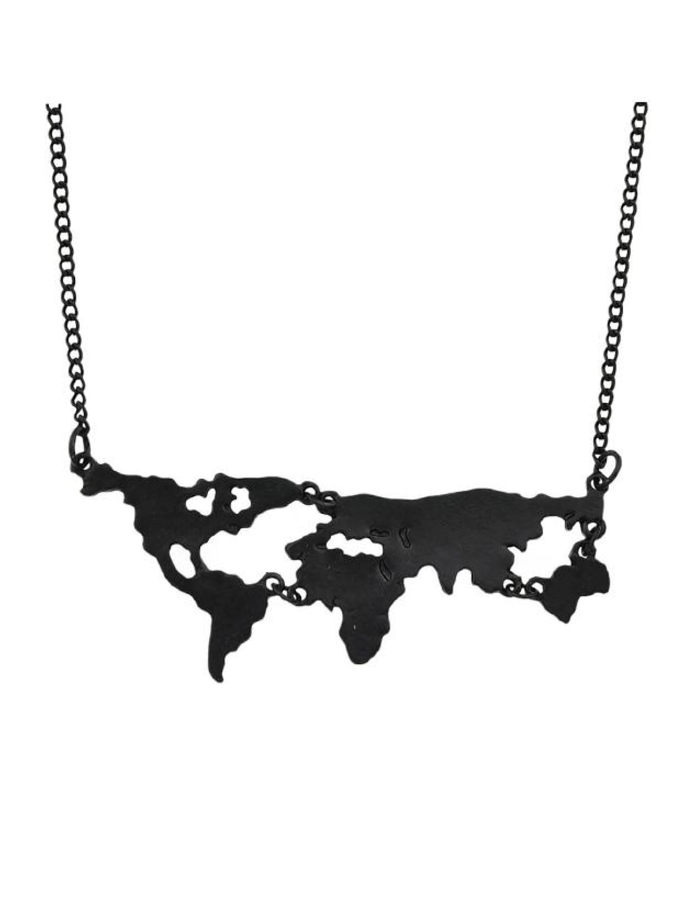 Black Map Shape Pendant Necklace