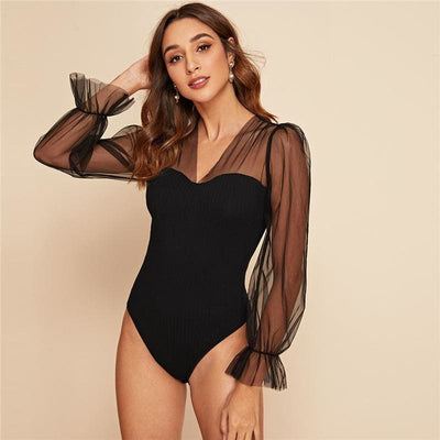 Black Mesh Flounce Sleeve Rib-knit Bodysuit - Black / XS - Bodysuits