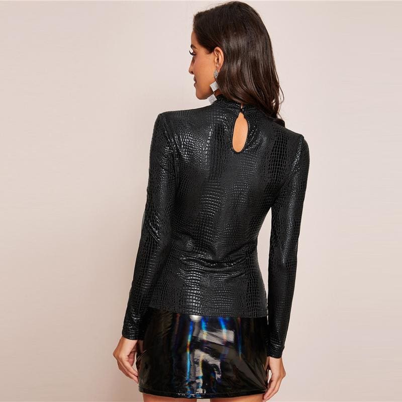 Black Mesh Insert Crocodile Embossed Top