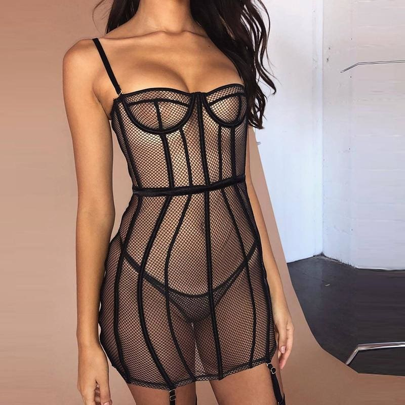 Black Mesh Sexy Bodycon Hollow Out Lingerie - Black / S - Lingerie