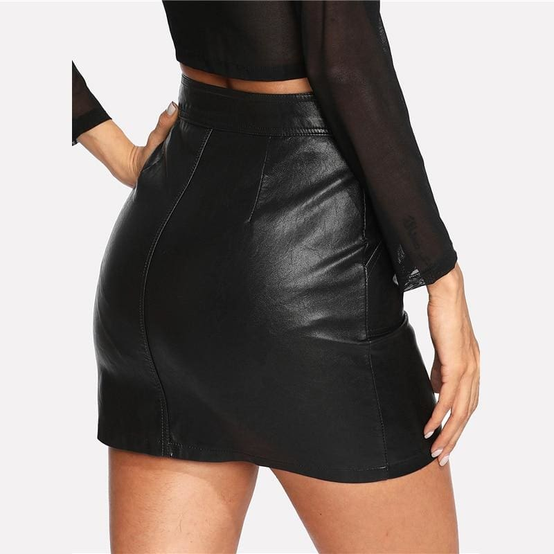 Black Mid Waist Zip Front PU Skirt