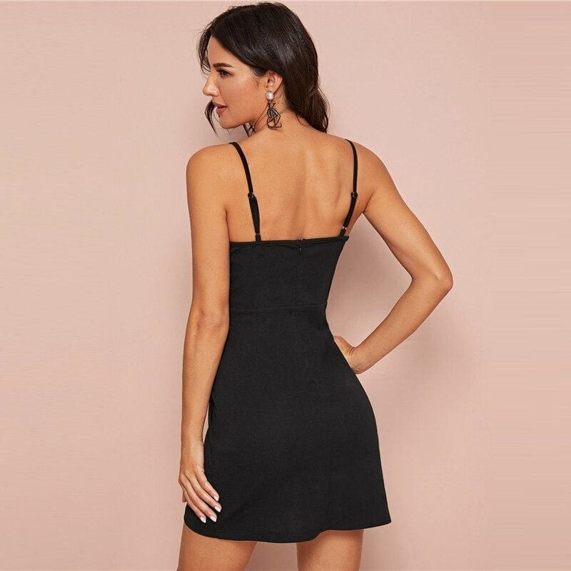 Black Mixed Media Ruched Wrap Cami Party Mini Dress - Black / XS - Dresses