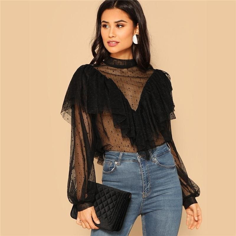 Black Mock Neck Dobby Mesh Ruffle Top