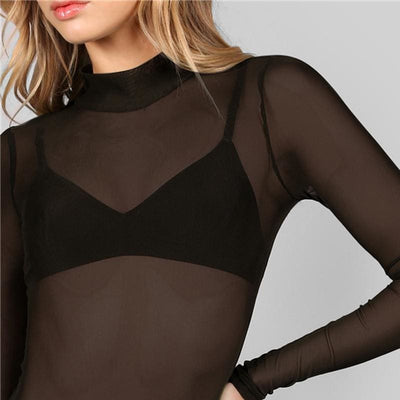 Black Mock Neck Hollow Out Back Mesh Bodysuit - Bodysuits