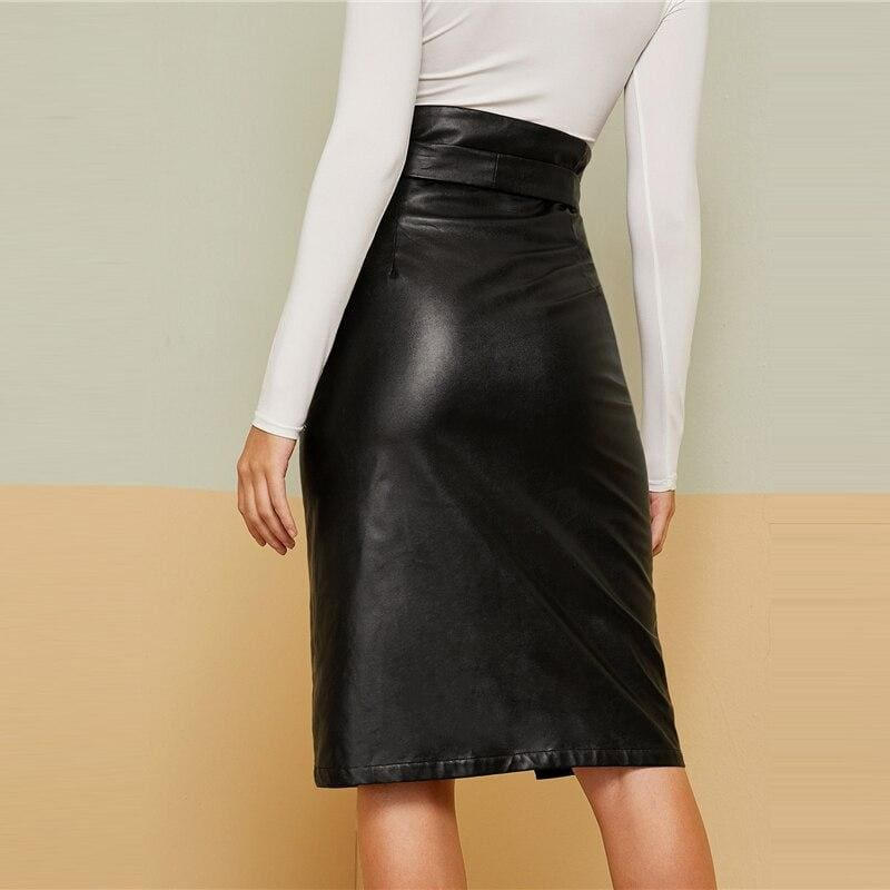 Black Notched Waist Button Fly Belted PU Skirt