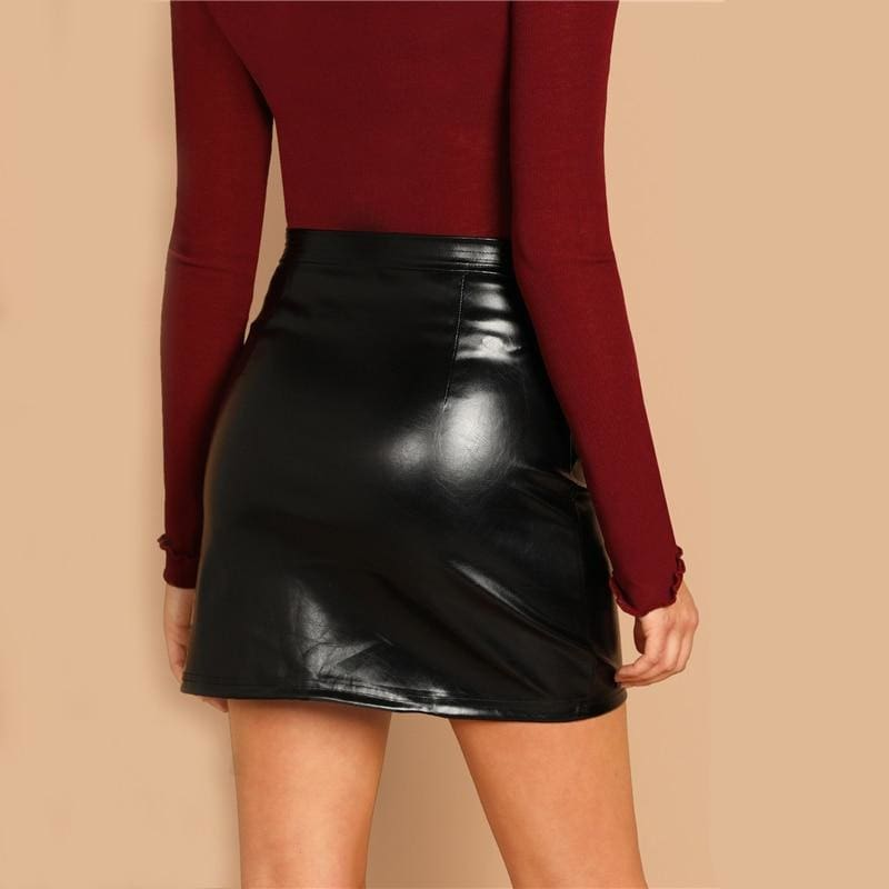 Black O-Ring Zip Faux Leather Skirt