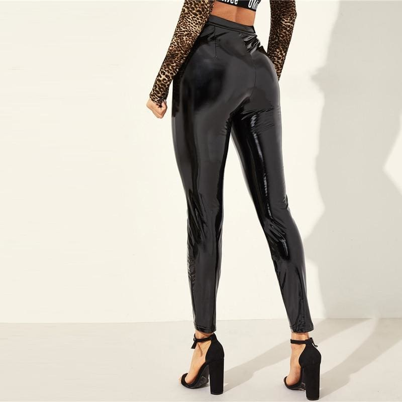 Black O-ring Zip Fly PU Skinny Pants