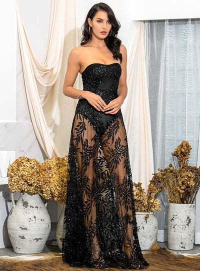 Black Off-Shoulder Tube Top Leaf Sequin Prom Maxi Dress - Dresses