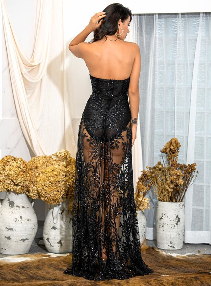 Black Off-Shoulder Tube Top Leaf Sequin Prom Maxi Dress - BLACK / S - Dresses