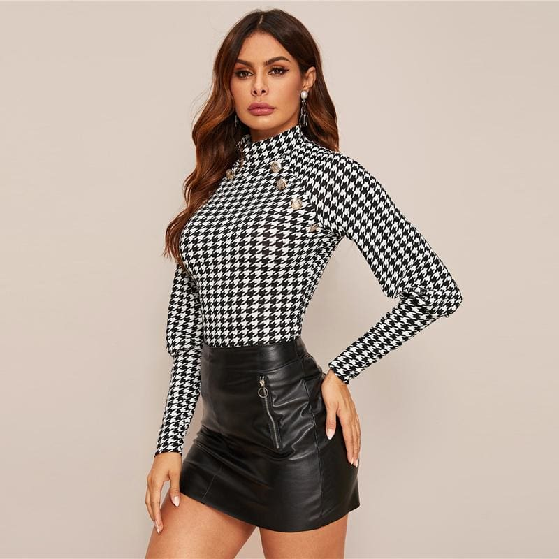 Black Office Houndstooth Button Trim Top