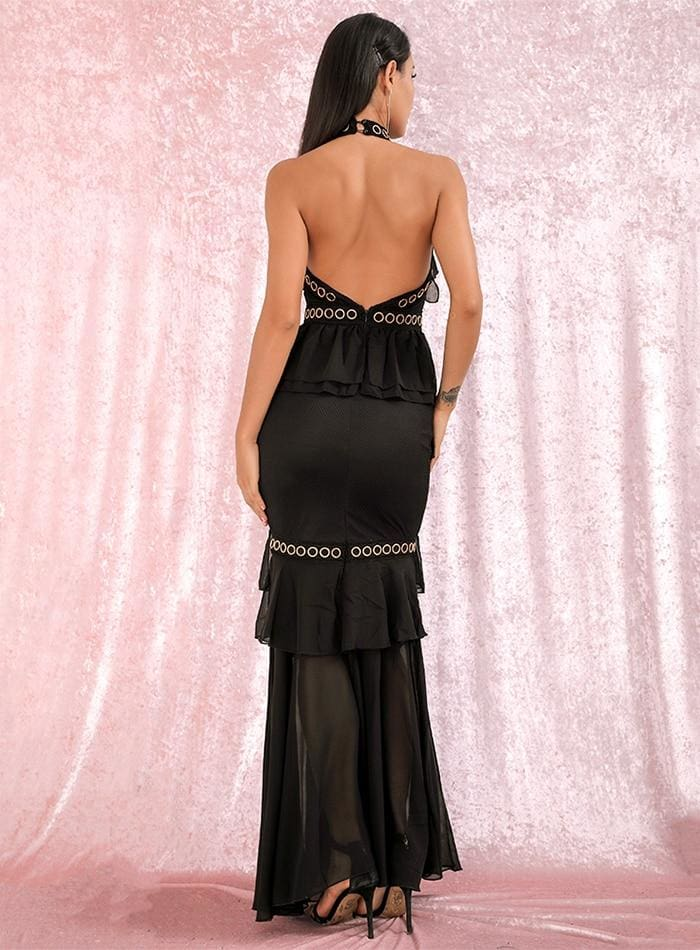 Black Open Back Metal Lace And Chiffon Ruffled Prom Maxi Dress - BLACK / XS - Dresses