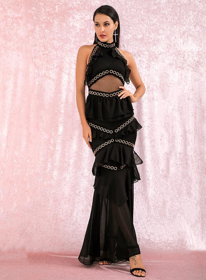 Black Open Back Metal Lace And Chiffon Ruffled Prom Maxi Dress