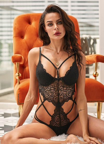 Black Push Up Lace Sexy Hollow Out Teddy Bodysuit - Lingerie